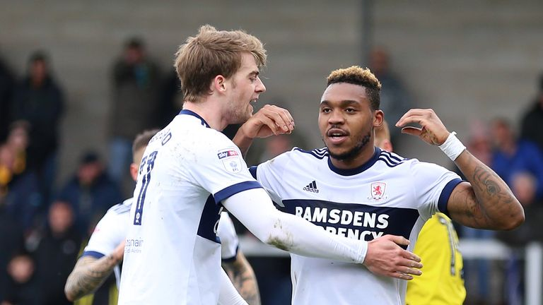 Middlesbrough's Britt Assombalonga celebrates with Patrick Bamford