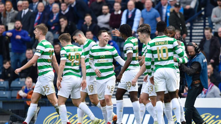 Celtic's Callum McGregor (centre) celebrates his goal against Rangers in the Scottish Cup semi-final win earlier this month.