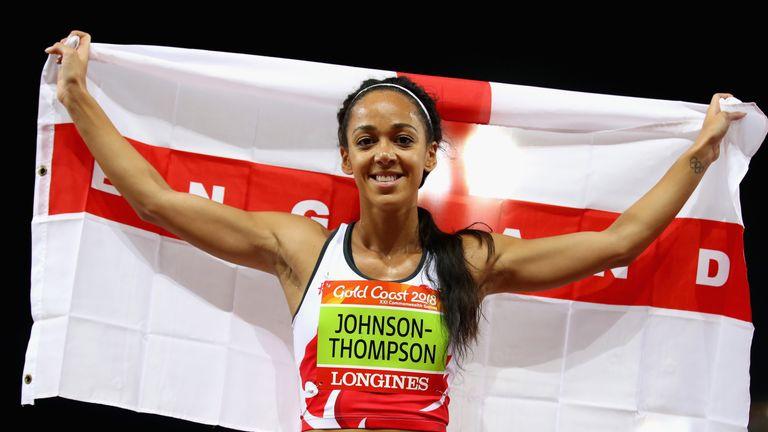 England's Katarina Johnson-Thompson wins gold in the Women's Heptathlon