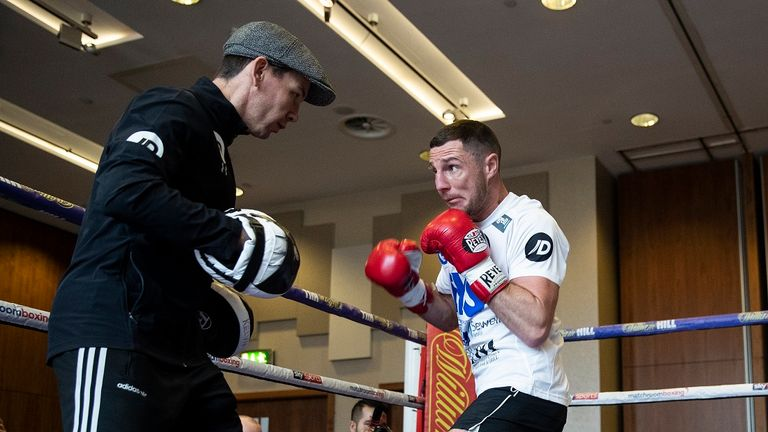 Tommy Coyle during Tuesday's public work out (Credit: Mark Robinson)