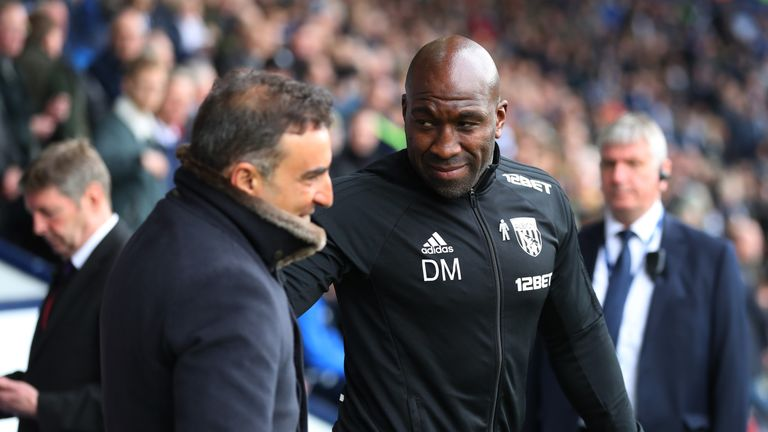 Darren Moore took caretaker charge of West Brom after Alan Pardew left the club on Monday