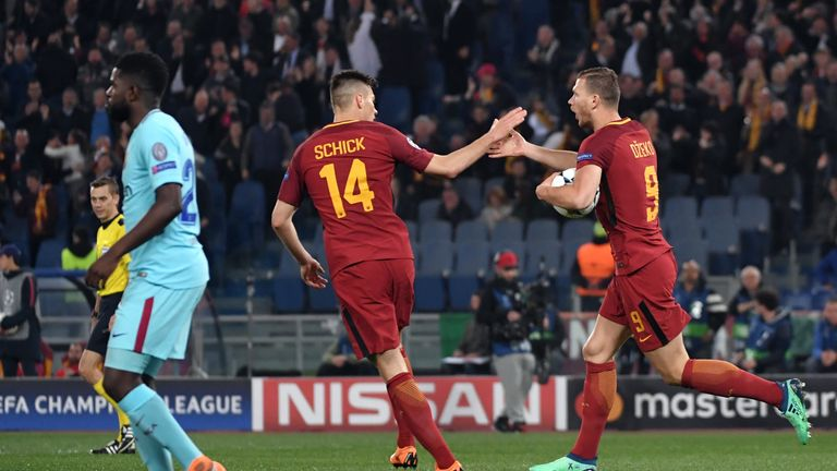 Patrik Schick and Edin Dzeko look set to line up against Liverpool
