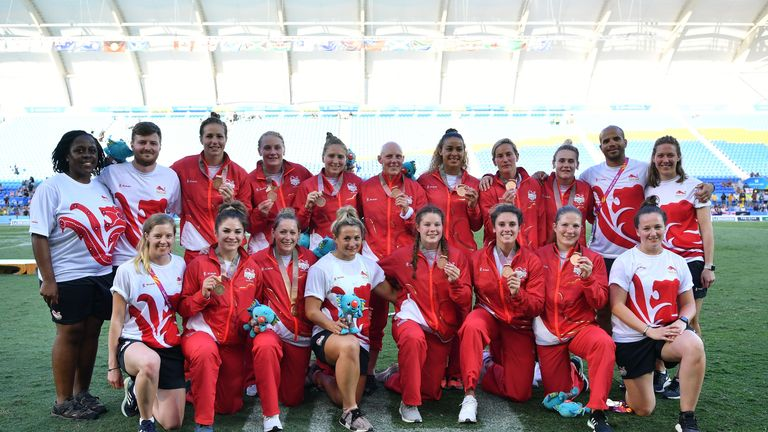 The England women's team display their Commonwealth Games bronze medals