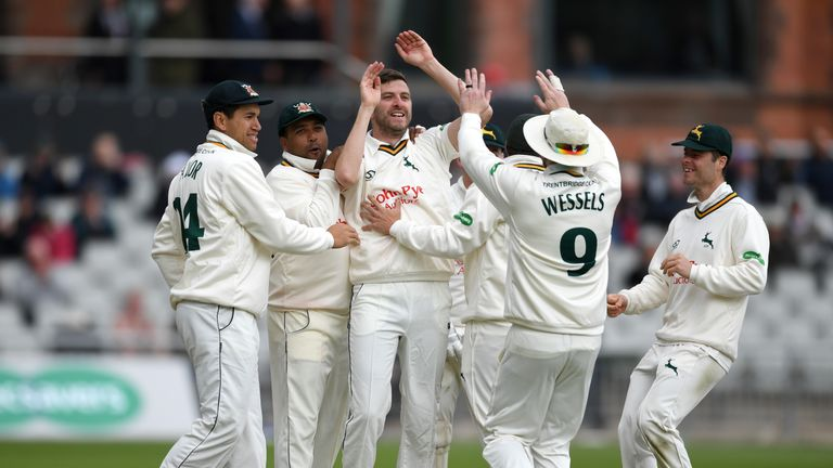 Harry Gurney celebrates one of his six wickets as Nottinghamshire bowled Lancashire out for 73