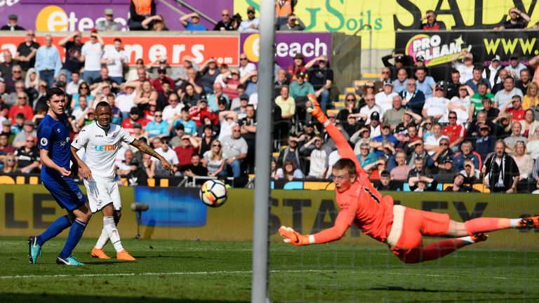 Jordan Ayew's half-volley earned Swansea a point at the Liberty Stadium