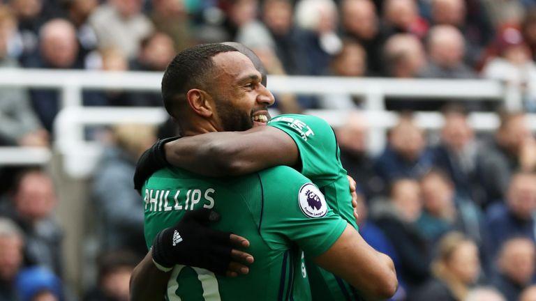 Matt Phillips celebrates scoring for West Bromwich Albion during at St. James Park