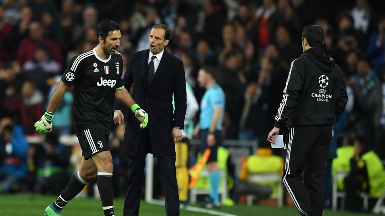 Buffon and Max Allegri after the goalkeeper was dismissed