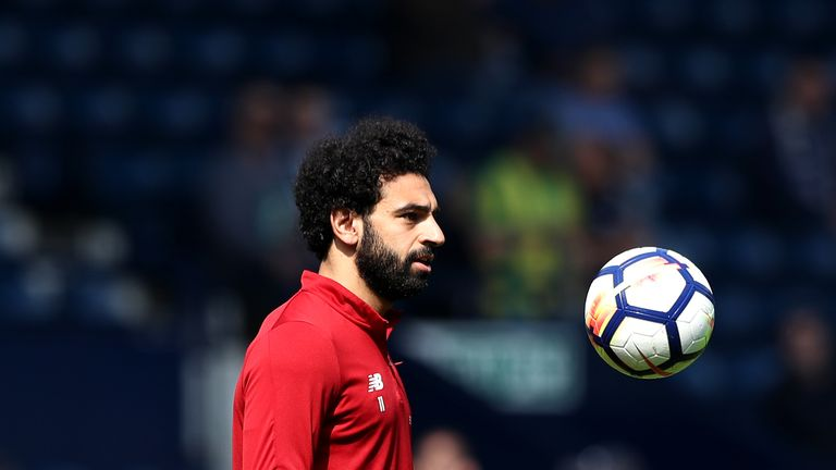 Mohamed Salah celebrates being chosen Player of the Year by fellow athletes