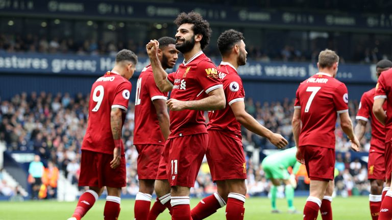 Mo Salah celebrates after scoring Liverpool's second
