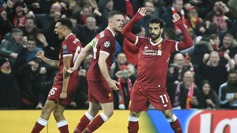 Mohamed Salah celebrates in victory over Roma