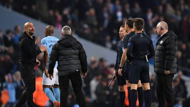 Pep Guardiola remonstrates with the officials after Leroy Sane's disallowed goal and is subsequently sent to the stands