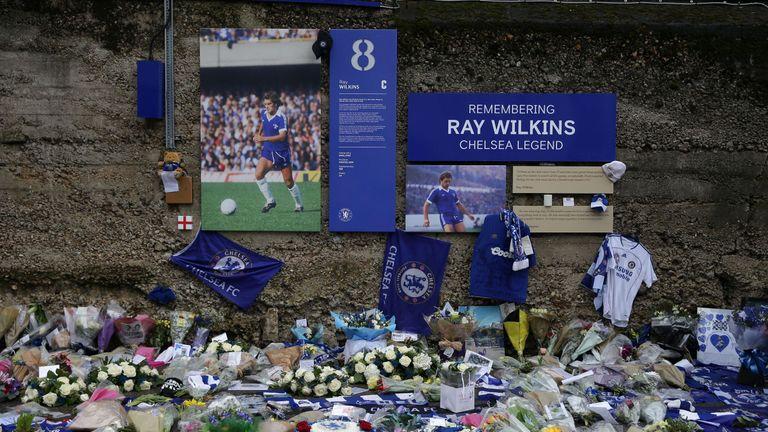 A memorial to Wilkins outside Stamford Bridge