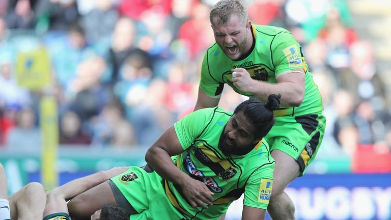 Mikey Haywood celebrates a Saints try at Welford Road
