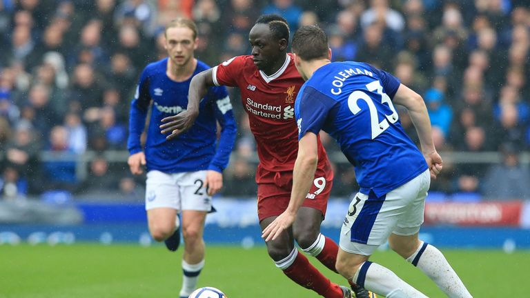 Liverpool's Sadio Mane takes on Seamus Coleman
