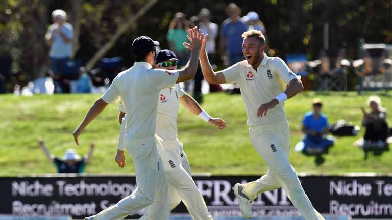 Stuart Broad celebrates after his double strike with the first two balls on day five in Christchurch