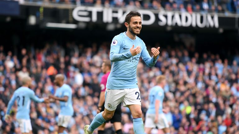 Bernardo Silva celebrates putting Man City 4-0 up following Gabriel Jesus' saved penalty