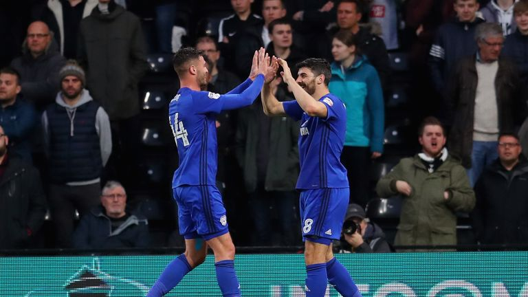 Callum Paterson celebrates with team-mate Gary Madine after putting Cardiff ahead