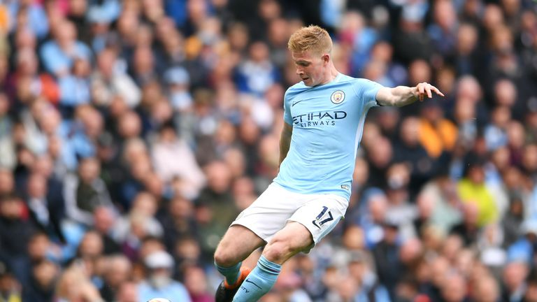 Kevin De Bruyne unleashes a 25-yard strike to put Man City 3-0 up against Swansea