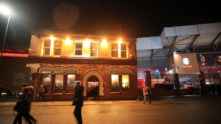 """A view of The Albert pub on Walton Breck Road after the UEFA Champions League, Semi Final First Leg match at Anfield, Liverpool. PRESS ASSOCIATION Photo. Picture date: Tuesday April 24, 2018. Police are investigating """"a serious assault"""" following reports a Liverpool fan was attacked ahead of the Champions League semi-final first leg against Roma at Anfield. See PA story SOCCER Liverpool. Photo credit should read: Peter Byrne/PA Wire"""