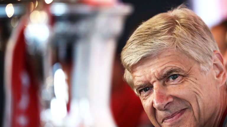 Arsene Wenger looks towards the FA Cup during an official welcome to Sydney for Arsenal at Museum of Contemporary Art on July 11, 2017