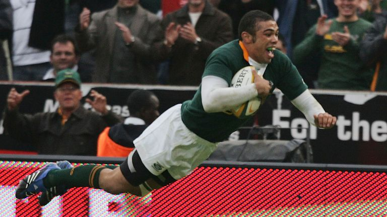 Bryan Habana scoring for the Springboks