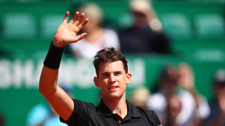 Dominic Thiem of Austria waves to the crowd after victory in his Mens Singles match against Andrey Rublev of Russia at Monte-Carlo Sporting Club on April 17, 2018 in Monte-Carlo, Monaco