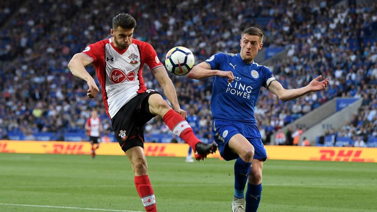 Southampton's Wesley Hoedt and Leicester's Jamie Vardy at the King Power Stadium