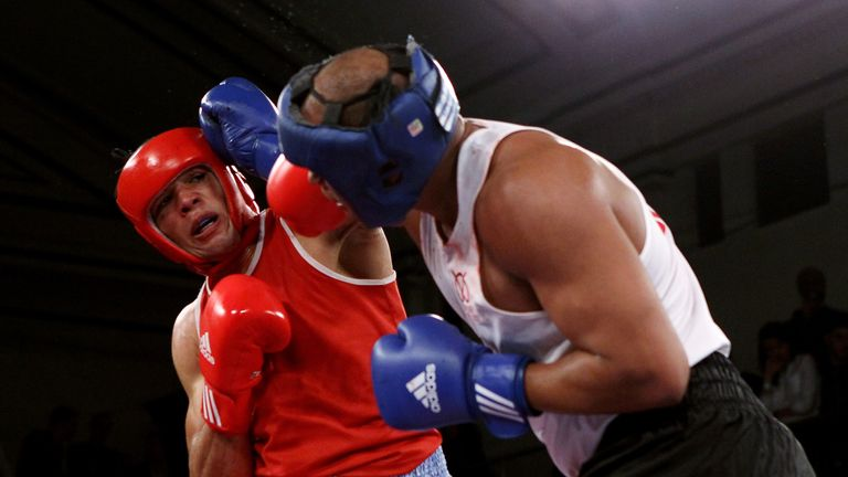 during the 2012 ABA Elite Championship Finals at York Hall on April 13, 2012 in London, England.