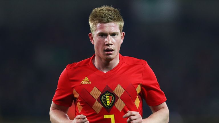 Kevin de Bruyne playing for Belgium.