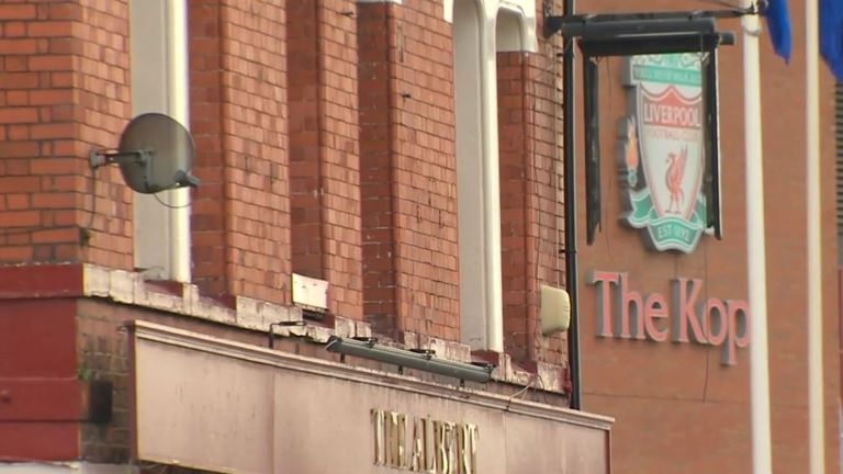 A man is in hospital after an incident outside The Albert - a pub close to Anfield