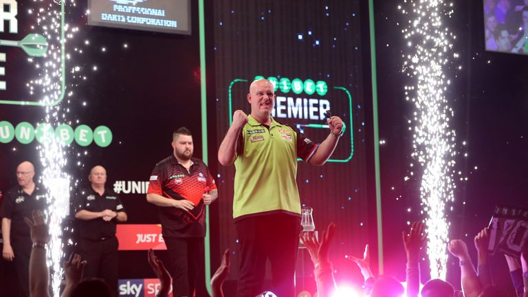 Michael van Gerwen hammered Michael Smith to extend his lead at the top of the Premier League with two weeks of the regular season to go