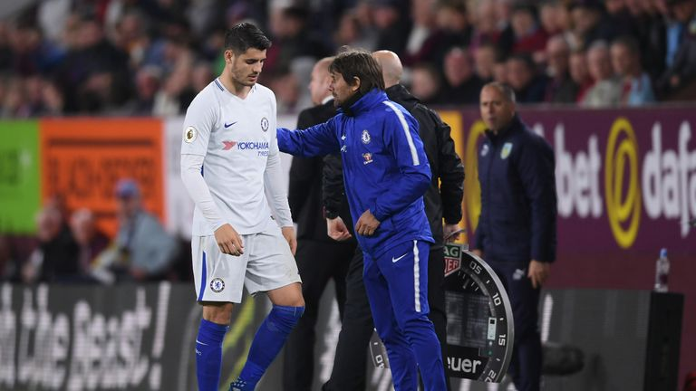 Morata and Conte during the Premier League match between Burnley and Chelsea at Turf Moor on April 19, 2018 in Burnley, England.