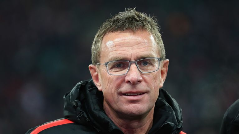 Ralf Rangnick at the Bundesliga match between RB Leipzig and Hertha BSC at Red Bull Arena on December 17, 2017 in Leipzig, Germany.