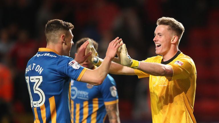 Dean Henderson (right) impressed during a loan spell with Shrewsbury last season
