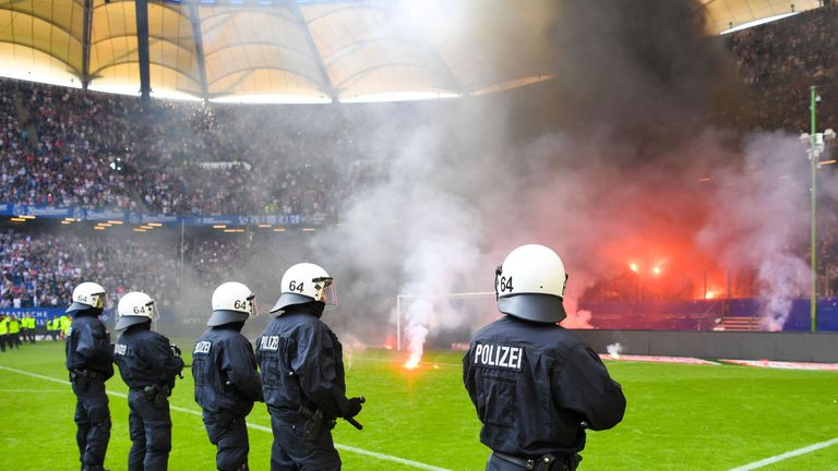Trouble flared as Hamburg were relegated from the Bundesliga