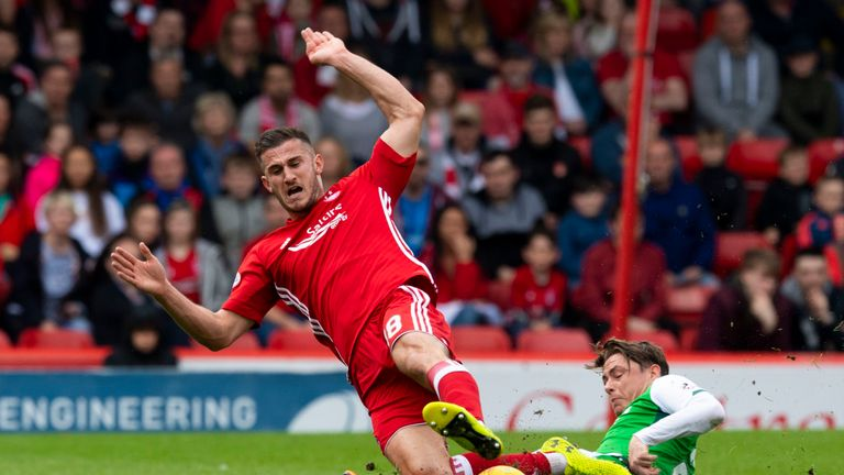Aberdeen's Dom Ball is tackled by Hibernian's Scott Allan (right)