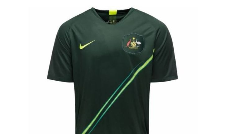 The new Australia away strip comes in dark green with a luminous diagonal stripe