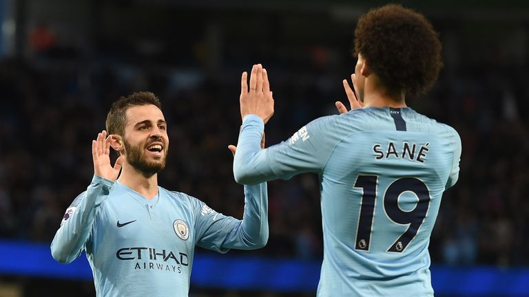 Mahrez will face competition from the likes of Bernardo Silva, left, and Leroy Sane