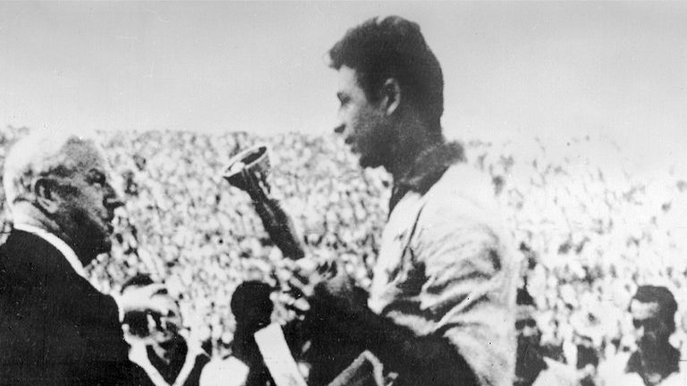 Brazil captain Mauro is handed the Jules Rimet Cup in June 1962