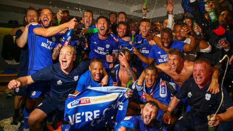 Cardiff City celebration their promotion to the Premier League,  Geoff Caddick/JMPUK