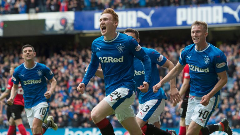David Bates celebrates his goal for Rangers against Kilmarnock