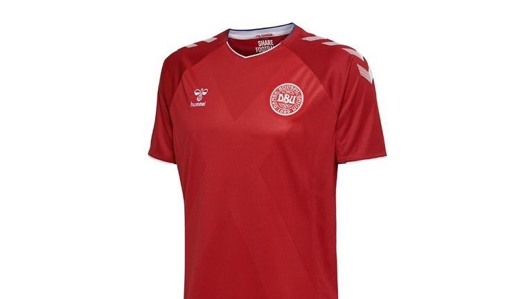Denmark's home shirt is a classic plain red with a subtle cross pattern running diagonally