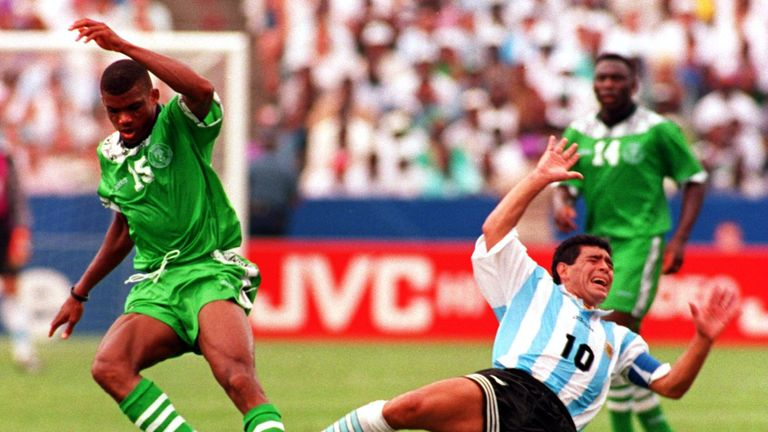 Diego Maradona's Argentina saw off Nigeria in 1994
