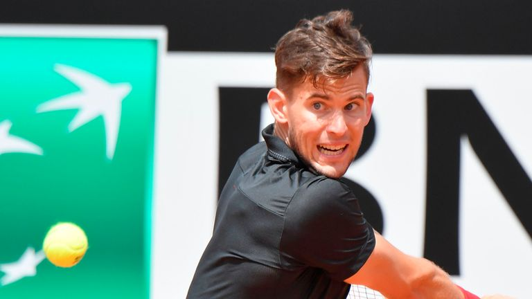 Dominic Thiem was dumped out by Fabio Fognini at Foro Italico on Wednesday