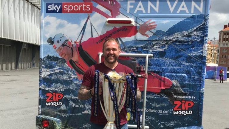 The #FANVAN team take the Champions Cup trophy across to Spain for the European Rugby finals in Bilbao, then head to Barcelona for some pit lane access at the Grand Prix