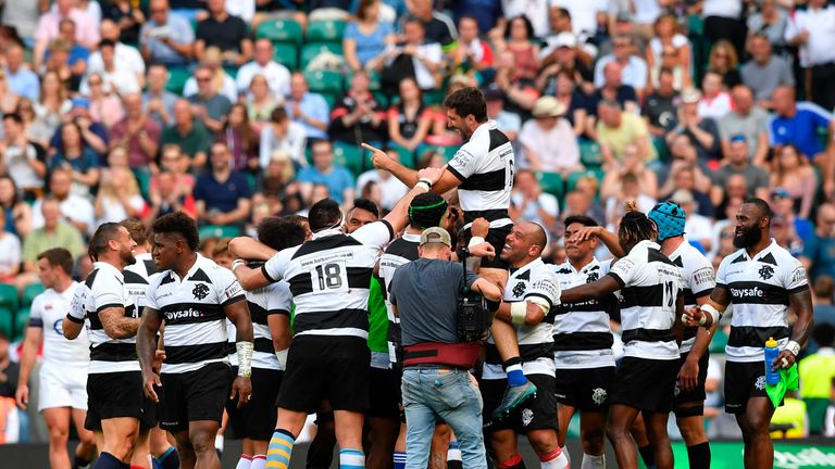 Juan Martin Fernandez Lobbe is hoisted high by his fellow Barbarians