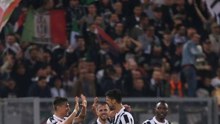 Juventus celebrate after Nikola Kalinic's own gola puts them 4-0 up