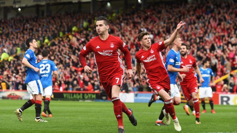 Aberdeen's Kenny McLean celebrates his penalty against Rangers