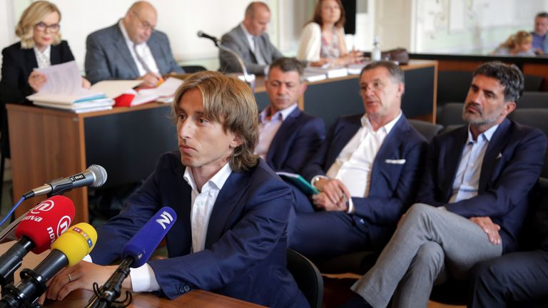 Modric giving his testimony in Zdravko Mamic's corruption trial