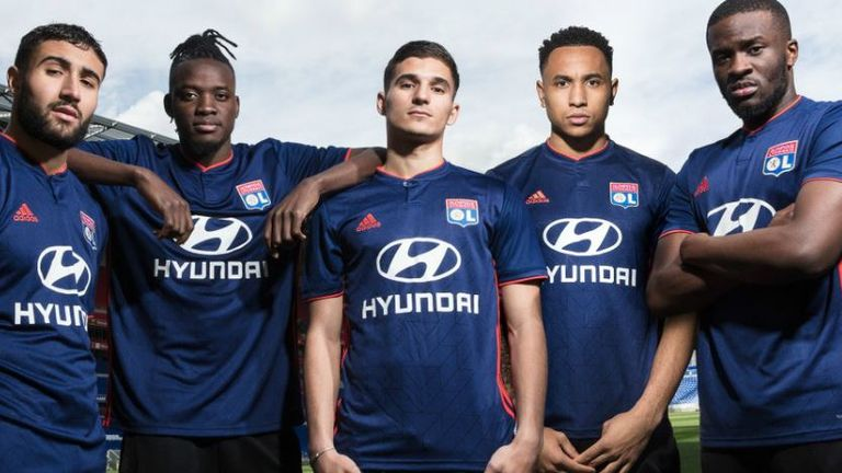 The new Lyon away kit is dark blue with a subtle graphic pattern